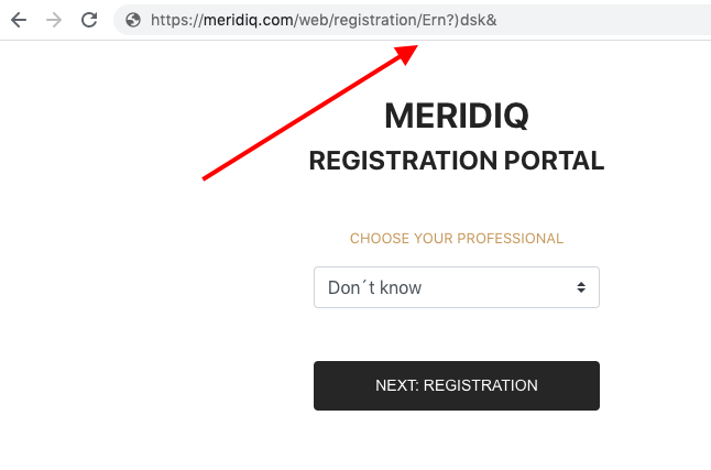 URL example registration portal