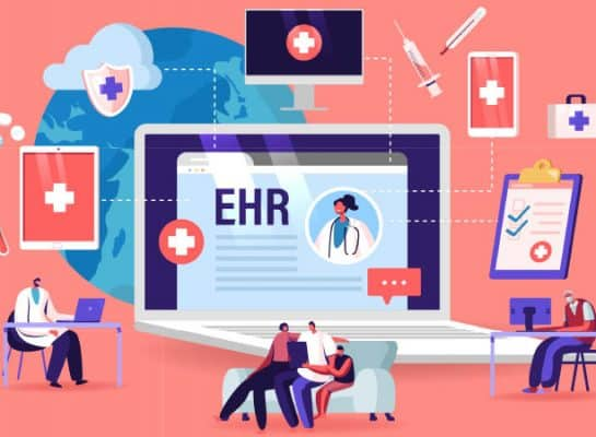 EHR electronic medical record and EHR electronic health record clipart