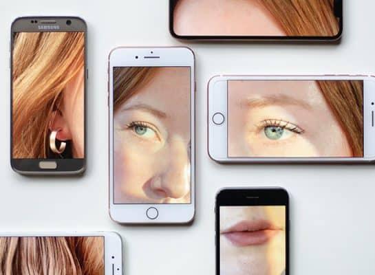 telefoner med olika delar av ansiktet